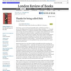 Jenny Turner reviews 'I Love Dick' by Chris Kraus · LRB 17 December 2015