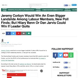 Jeremy Corbyn Would Win An Even Bigger Landslide Among Labour Members, New Poll Finds; But Hilary Benn Or Dan Jarvis Could Win If Leader Quits