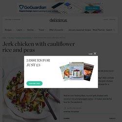 Jerk chicken with cauliflower rice and peas