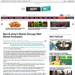 Ben & Jerry's Backs Occupy Wall Street Protesters