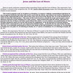 Jesus and the Law of Moses