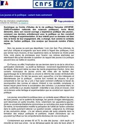 CNRS Info 389 - Les jeunes et la politique : autant mais autrement