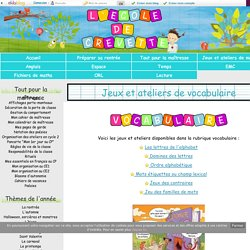 Jeux et ateliers de vocabulaire