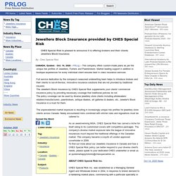 Jewellers Block Insurance provided by CHES Special Risk