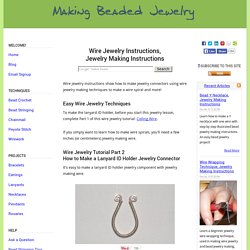 Wire Jewelry Instructions, Jewelry Making Instructions