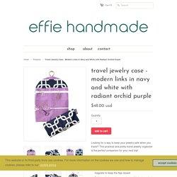 Travel Jewelry Organizer - Modern Navy and White Radiant Orchid Purple – effie handmade