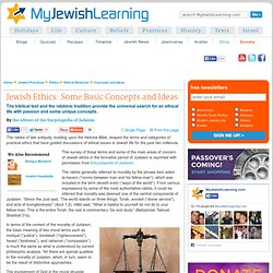 Jewish Ethics: Some Basic Concepts and Ideas