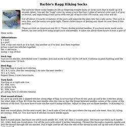 Barbie's Ragg Hiking Socks - Knitting Pattern