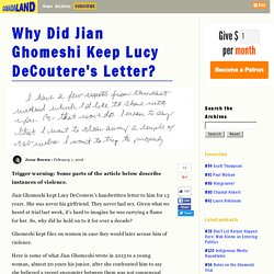 Why Did Jian Ghomeshi Keep Lucy DeCoutere's Letter?