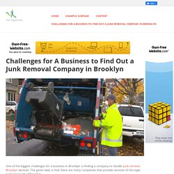 jiffyjunk - Challenges for A Business to Find Out a Junk Removal Company in Brooklyn