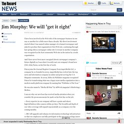 Jim Murphy: We will 'get it right' - The Record Opinion: Serving