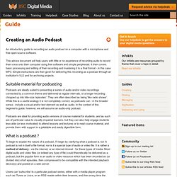 Creating an Audio Podcast |JISC Digital Media