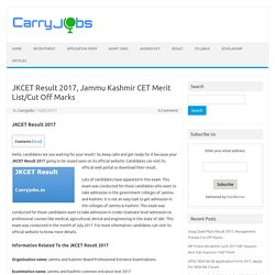 JKCET Result 2017, Jammu Kashmir CET Merit List/Cut Off Marks