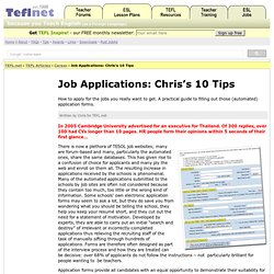 Job Applications – Chris's 10 Tips