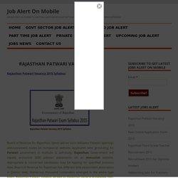jobalertonmobile - Rajasthan Patwari Vacancy 2015