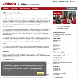 Jobannonce - PhD Scholarships in Protein Science