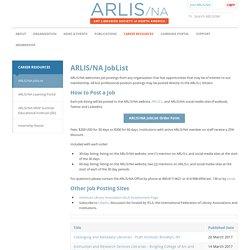 ARLIS/NA JobList - Art Libraries Society of North America