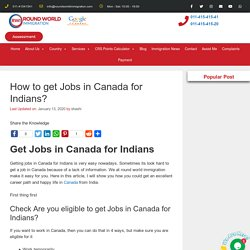 Jobs In Canada for Indians