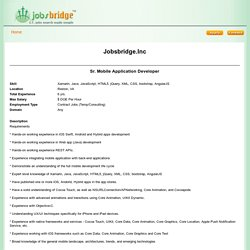 Jobsbridge.Inc-Sr. Mobile Application Developer