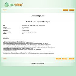 Jobsbridge.Inc-Fullstack - Java Frontend Developer