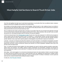Most helpful Job Sections to Search Truck Driver Jobs