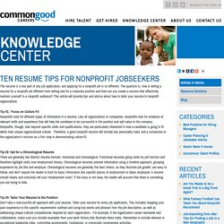 Ten Resume Tips for Nonprofit Jobseekers › Articles › Knowledge Center › Commongood Careers