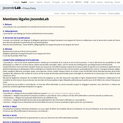 JocondeLab » Privacy Policy