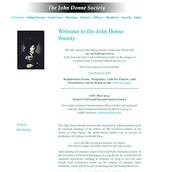 John Donne Society - Welcome