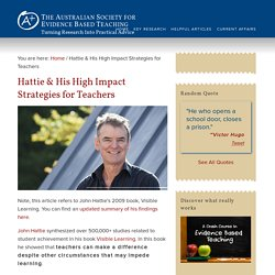 John Hattie & His High Impact Strategies