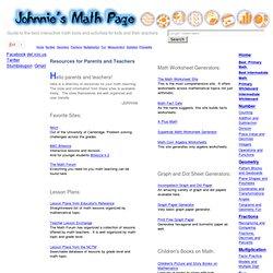 Johnnie's Math Page - Fun Math for Kids and their Teachers