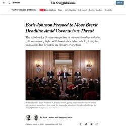 Boris Johnson Pressed to Move Brexit Deadline Amid Coronavirus Threat