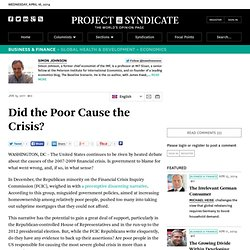 Did the Poor Cause the Crisis? - Simon Johnson