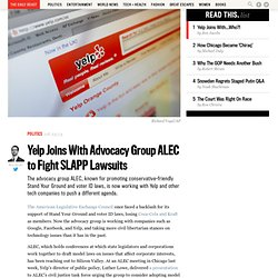 Yelp Joins With Advocacy Group ALEC to Fight SLAPP Lawsuits