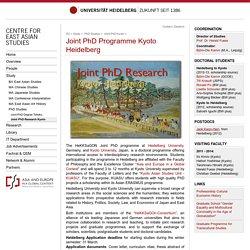 Joint PhD Programme Kyoto-Heidelberg