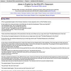 Jokes in English for the ESL/EFL Classroom - Long Jokes