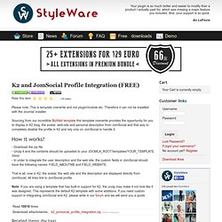K2 and JomSocial Profile Integration (FREE)