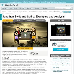 Jonathan Swift and Satire: Examples and Analysis - Video & Lesson Transcript