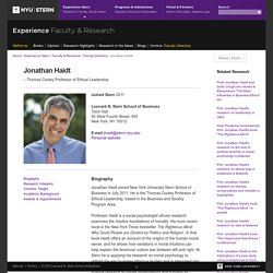 Stern - Jonathan Haidt - Thomas Cooley Professor of Ethical Leadership