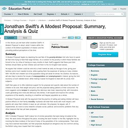 Jonathan Swift's A Modest Proposal: Summary, Analysis & Quiz