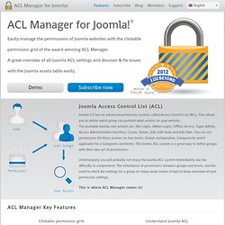ACL Manager for Joomla!, simplified one page permission settings overview - ACL Manager for Joomla!
