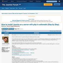 How to install Joomla on a server with php in safemode (Step by Step)