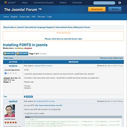 Installing FONTS in joomla