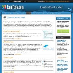 Joomla Twitter Tools