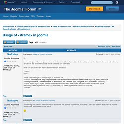 Usage of <iframe> in joomla
