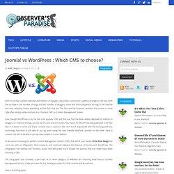 Joomla! vs Wordpress : Which CMS to choose?