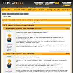 The home of Community Builder - Re:Login box text not working, shows _USERNAME - Joomlapolis Forums
