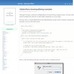 JOptionPane showInputDialog examples