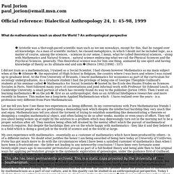 Paul Jorion, Regents' Lecturer, Spring 1997