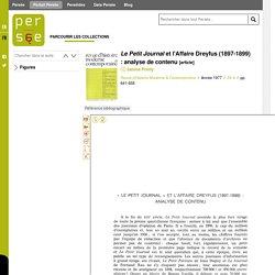 Le Petit Journal et l'Affaire Dreyfus (1897-1899) : analyse de contenu