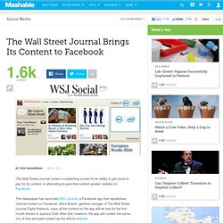 The Wall Street Journal Brings Its Content to Facebook